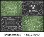 vector set of chalk back to... | Shutterstock .eps vector #458127040