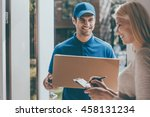 signing to get her package.... | Shutterstock . vector #458131234