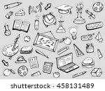 school supplies. school... | Shutterstock .eps vector #458131489