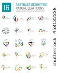 geometric leaf icon set. thin... | Shutterstock . vector #458132338