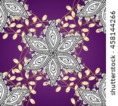 vintage pattern on lilac round... | Shutterstock .eps vector #458144266