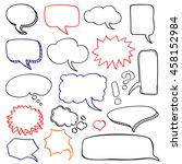 hand drawn speech bubbles cloud ... | Shutterstock .eps vector #458152984
