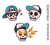 set of funny cartoon skull... | Shutterstock .eps vector #458162836