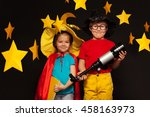 cute kids playing sky watchers... | Shutterstock . vector #458163973