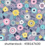 seamless pattern with flowers... | Shutterstock .eps vector #458167630