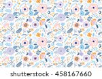 Stock vector seamless pattern with flowers for design small colorful multicolor flowers white background 458167660
