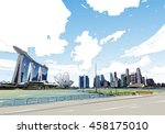 singapore. marina bay sands.... | Shutterstock .eps vector #458175010