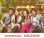 indian friends hangout happy... | Shutterstock . vector #458183650