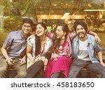 indian friends hangout happy... | Shutterstock . vector #458183650