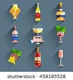 set of flat line modern alcohol ... | Shutterstock .eps vector #458185528