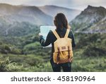 hipster young girl with... | Shutterstock . vector #458190964