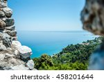 blue sea and sharp rocks that... | Shutterstock . vector #458201644