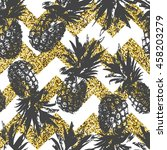 seamless pattern with pineapple ... | Shutterstock .eps vector #458203279