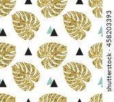 tropical golden  palm leaves... | Shutterstock .eps vector #458203393