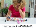 female diabetic patient with... | Shutterstock . vector #458209600