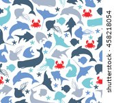 seamless pattern with... | Shutterstock .eps vector #458218054
