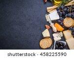 cheese selection border... | Shutterstock . vector #458225590
