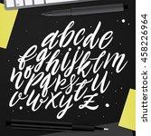 handwritten script alphabet set.... | Shutterstock .eps vector #458226964