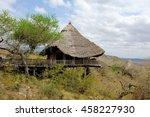 Wooden house on hill, National park of Kenya