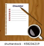notebook paper with blank... | Shutterstock .eps vector #458236219