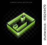 currency icon  green 3d credit... | Shutterstock .eps vector #458243470