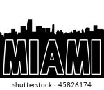 Miami skyline black silhouette on white - stock vector