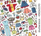 fashion seamless pattern.spain... | Shutterstock .eps vector #458262193