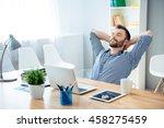 young worker having break and... | Shutterstock . vector #458275459