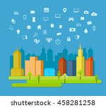 cloud services. abstract... | Shutterstock .eps vector #458281258