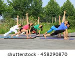 tangshan   july 3  women doing... | Shutterstock . vector #458290870