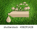 save water concept. paper cut... | Shutterstock . vector #458291428
