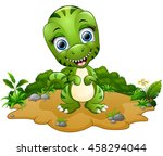 happy tyrannosaurus cartoon | Shutterstock . vector #458294044