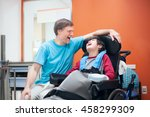 father talking with disabled... | Shutterstock . vector #458299309