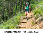 girl goes down the hill ... | Shutterstock . vector #458303563