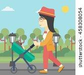 an asian young mother walking... | Shutterstock .eps vector #458308054