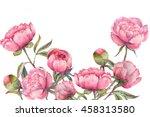 hand painted watercolor peonies.... | Shutterstock . vector #458313580