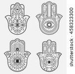elegant ornate hand drawn hamsa ... | Shutterstock .eps vector #458323300