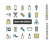 set of outline beauty and...   Shutterstock .eps vector #458332444