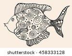ornamental graphic fish. art... | Shutterstock . vector #458333128