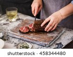 dry aged barbecue roast beef... | Shutterstock . vector #458344480