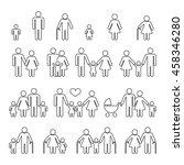 family human thin line outline... | Shutterstock .eps vector #458346280