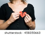 a cute girl with a broken heart ... | Shutterstock . vector #458350663