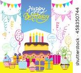 happy birthday vector card....   Shutterstock .eps vector #458350744