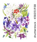 summer flowers watercolor... | Shutterstock . vector #458351938