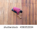 a worker painting exterior... | Shutterstock . vector #458352034
