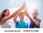 athletes taking a break after... | Shutterstock . vector #458352388