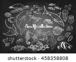 graphic sea life collection.... | Shutterstock .eps vector #458358808