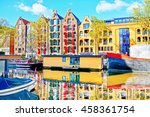 colorful old traditional dutch... | Shutterstock . vector #458361754