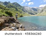 flyfisherman fishing in... | Shutterstock . vector #458366260