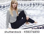 gorgeous model in striped top ... | Shutterstock . vector #458376850